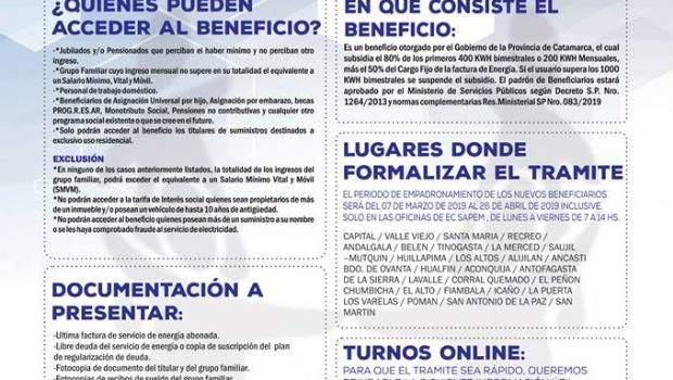 Comienza empadronamiento de beneficiarios de Tarifa Social Provincial 2019
