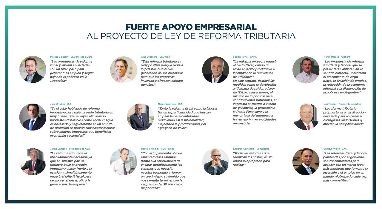 Fuerte apoyo empresarial al proyecto de Reforma Tributaria.
