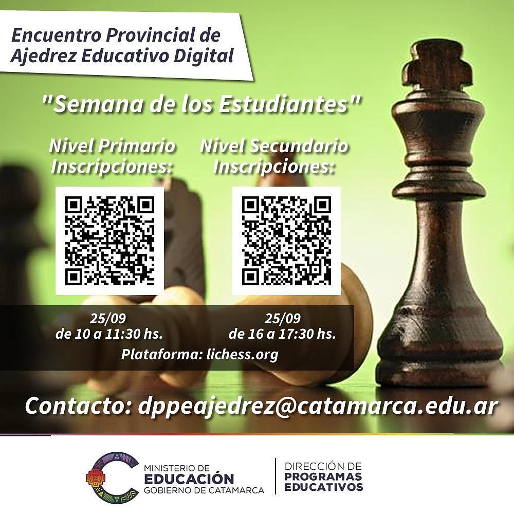 """Encuentro Provincial de Ajedrez Educativo Digital """"Semana de los Estudiantes"""""""
